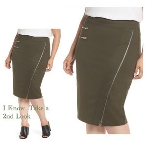Dresses & Skirts - OLIVE ZIPPER DETAIL PONTE PENCIL SKIRT